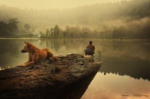 The Dog with fisherman by redpix