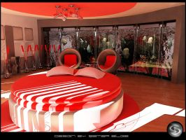 Red Bedroom Day by Semsa