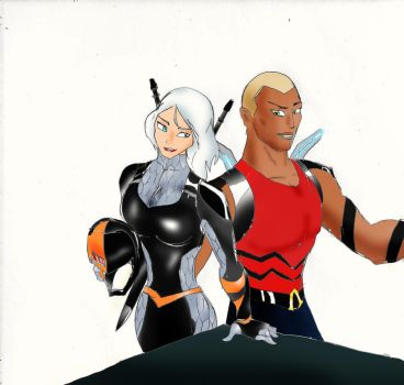 Young Justice: Rose Wilson and Kaldur by Omnipotrent