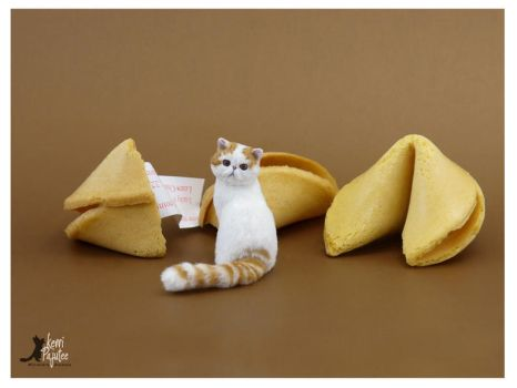 Good Fortune Miniature Cat Sculpture by Pajutee