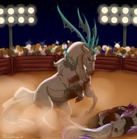 Dulce Pit Fight by DragonsFlameMagic
