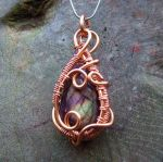 Green and Purple Labradorite Weave Wrap in Copper by crystalpanther2