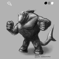 Daily Painting #37 - Ken's Shark Monster by maugryph
