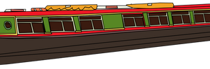 Red English Narrow Boat by OceanRailroader