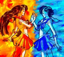Sailor Mars and Sailor Mercury by SuncatStudio
