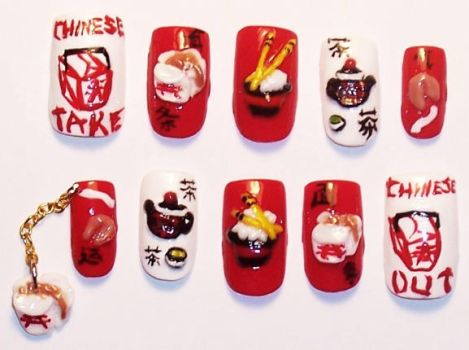 Chinese take-out nails by The-Lady-of-Kuo