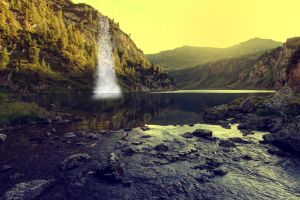 calm and peaceful with waterfall by anniexhx