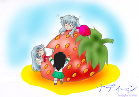 Chibis an a Strawberry. by Inuyasha-Niichan