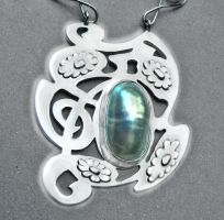Art Nouveau silver mother-of-pearl necklace by YANKA-arts-n-crafts