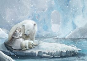Polar bears family by laura-csajagi