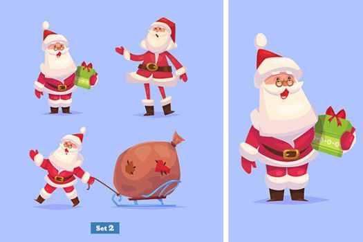 Set of banners with Funny santa by krolone