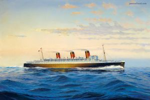 Queen Mary at sea by 121199