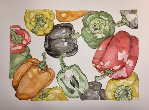 Rainbow Bell Peppers  by mybuttercupart