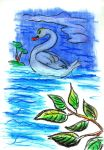 Oil Pastels: Swan by kxeron