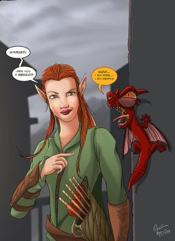 Tauriel and gekkosmaug by pauloomarcio