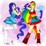 Rarity and Rainbow Dash by oOCrazyKittyOo