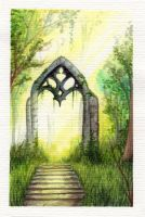 Gate in forest by MiaErrianIrielynn
