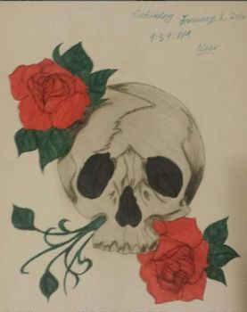 Skull w/ Roses :P by embracing-solitude