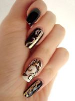 Black white and gold nails by DancingGinger