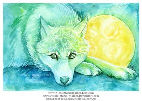Wolf and Moon by Nicole-Marie-Walker