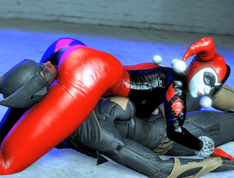Harley Squeezes Batgirl (GIF) by BlueAurora3