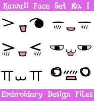 Kawaii Face Set #1 [EMBROIDERY FILES] by TheHarley