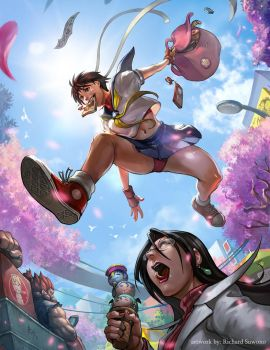 Capcom Fighting Tribute:Sakura is late for School by r-chie
