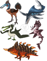 Reptile, Fish, and Bird Creatures by comixqueen