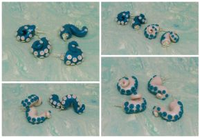 Teal and White Tentacle Studs by okapirose