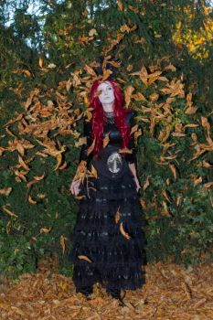 Stock -  Vampire lady red hair leaves by S-T-A-R-gazer