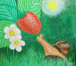 Snail and strawberry by Efirende