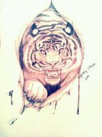 Tattoo design Tiger by AngelSkyXXIV