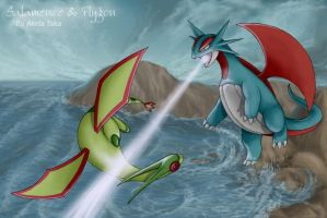 Salamence And Flygon by akelataka