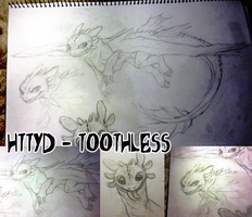 Toothless- Old A3 Sketch by HailDawn