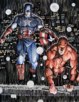Daredevil and Captain America Night Watch by Meador