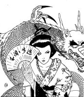 Geisha and dragon by victorhvicente