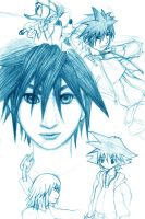 Kingdom hearts: Sora studies by GenesisGoBoom