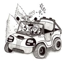A Penguin and A Reindeer in a Jeep by MeMiMouse