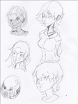 Anime pen drawings by lubu123q