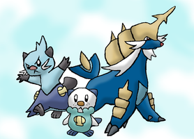 Oshawott and its evolutions by FinnishPokemonFan96