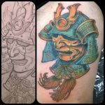 Samurai helmet tattoo by dmillustration