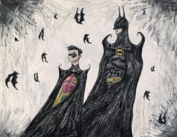 Burtonesque Batman and Robin. by Kongzilla2010