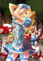 Alice in wonderland cover color by qualano