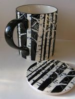 The Birch tree mug and coaster by OriginalBunny