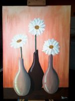Three gerberas in vases by LucaDeBoa