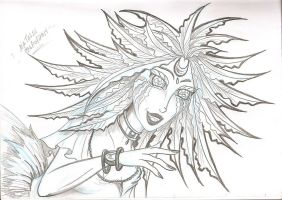 Hair Feathers Pencil Doodle 1 by dracodawnstar