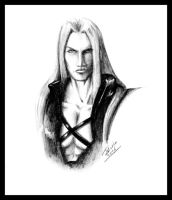 Sephiroth in graphite by Destinyfall