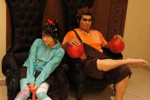Vanellope and Ralph chilling by Heavengreen