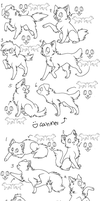 12canines,felines free lineart by zcherozrodesidz