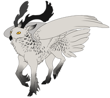 Fallow Deer x Snowy Owl Gryphon by Kingfisher-Gryphon